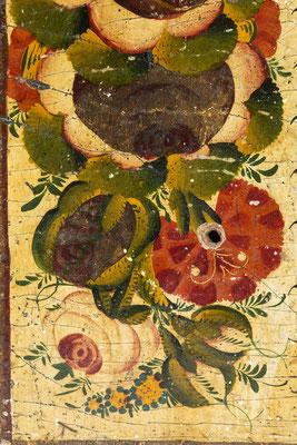 Tafel mit Sinnspruch, Schwarzwald um 1840, Detail Blumen
