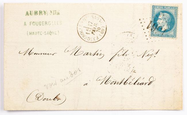 04. Februar 1870, Brief von Aubry Fils (Fougercilles) an S. Marti fils (Montbéliard)