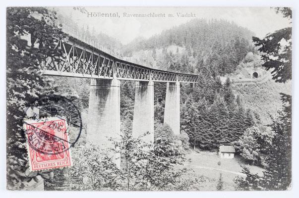 Höllsteig, Ravennaschlucht mit Viadukt, Postkarte von Freiburg nach Frankreich 1907