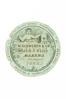 Watch and Clock Makers M. Schwerer & Co., Beilegepapier für die Reparatur einer Taschenuhr,  York 1854