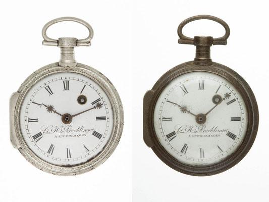 Taschenuhr nach der Restaurierung (links) und vor der Restaurierung (rechts)