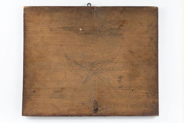 Tafel mit Sinnspruch, Schwarzwald um 1840, Rückseite