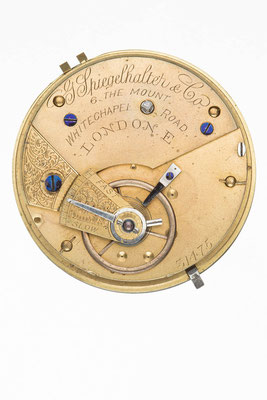 englisches Taschenuhrwerk, Signatur von G. Spiegelhalter & Co., London