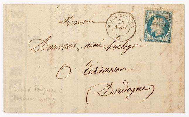 Horloger Lissac Neveu, Morez 28.08.1868 Brief