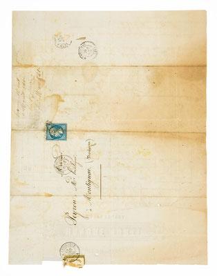 Honoré Moell, Horloger á Morez, 18.08.1865, Briefhülle
