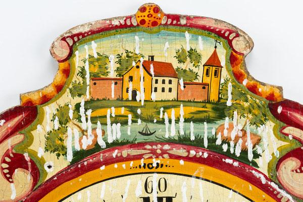 Barockes Lackschild während der Restaurierungsmaßnahme des Anböschens, Detailaufnahme
