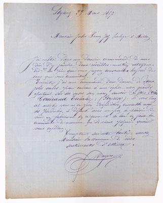 Jules Lamy, Morez 29.03.1877, Briefinhalt