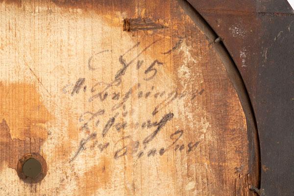 Signatur von Uhrmacher Mathias Behringer, Langenordnach im Schwarzwald um 1865, Zifferblattrückseite