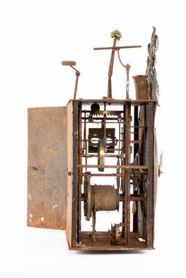 Comptoise Uhr, Frankreich um 1850, Seitenansicht von links