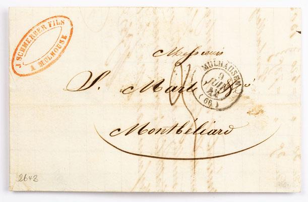7. Juni 1842, Brief von Schmerber Fils (Mulhausen) an Samuel Marti (Montbéliard)
