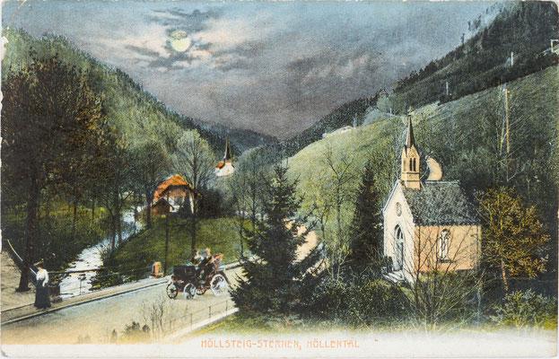 Frühe Abbildung eines Autos auf der Höllentalstrasse bei Höllsteig, Postkarte 1906