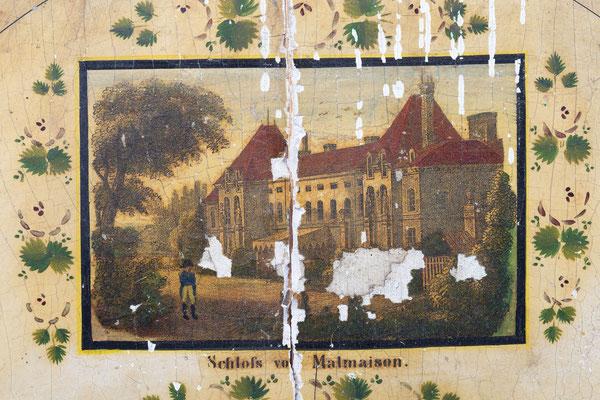 Lackschilduhr mit Schlossscheibenrepetition, Mathias Kammerer, Stockwald 1854, Detail Bogen