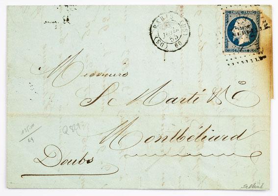 20. Juli 1855, Brief von S. Marti (Paris) an S. Marti & Cie. (Montbéliard)