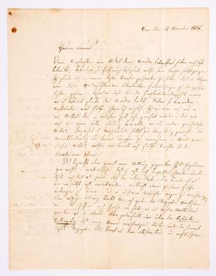 17. November 1837, Brief von I. Seiler (Bern) an Samuel Marti (Montbéliard), Inhalt 1