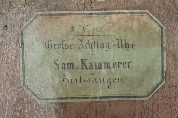 Signatur,  Samuel Kammerer Furtwangen (Schwarzwald) um 1865