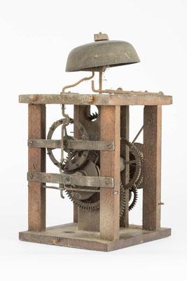 postman's alarm clock, Schwarzwälder Uhrwerk Rückseite