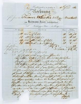 Löffelschmied Herrmann Feser von Hinterzarten, Brief 15.06.1860 Inhalt
