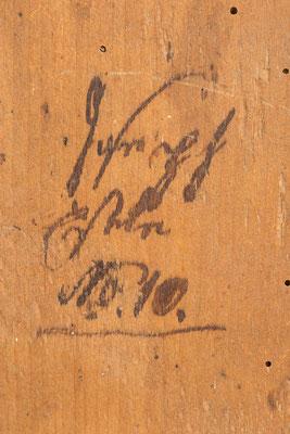Signatur: Joseph Eschle, Schwarzwälder Schilderuhr um 1800