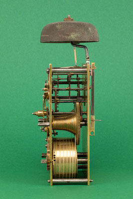 Uhrmacher Jakob Kleiser, 8-Tage Uhrwerk mit Schnecke, Schollach um 1860, Seitenansicht von rechts