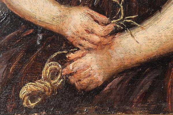 Johann Baptist Laule, strohflechtende Hände, Detailaufnahme