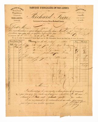 Brief von Richard Frére, Horloger á Morez, 1860, Briefinhalt