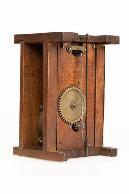 Uhrwerk von Mathias Behringer, Langenordnach Schwarzwald um 1865, Rückseite
