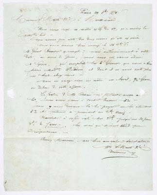29. Februar 1854, Brief von S. Marti (Paris) an S. Marti & Cie. (Montbéliard), Inhalt
