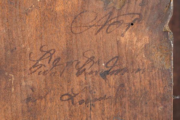 Signatur von Fidel Fürderer aus Linach, Lackschilduhr um 1860