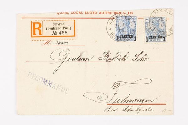 1905 Briefhülle aus Smyrna an Gordian Hettich Sohn Furtwangen