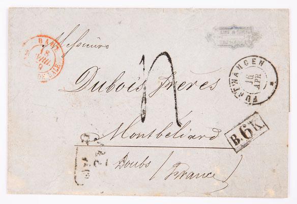Brief von Lamy & Cie nach Montbeliard, Furtwangen 1859