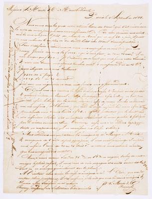 04. September 1844, Brief von S. Marti (Paris) an S. Marti & Cie. (Montbéliard), Inhalt