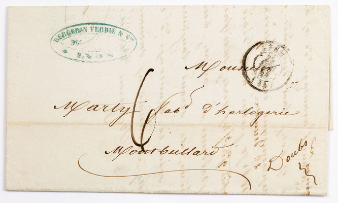 28. Dezember 1844, Brief von Bergeron Verdie & Cie (Lyon) an S. Marti & Cie. (Montbéliard)