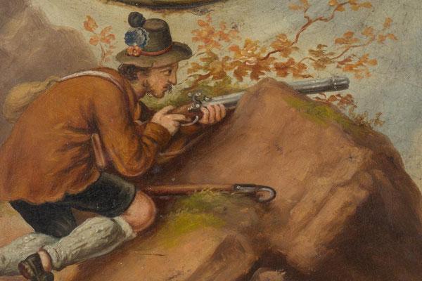 Detail, der Gemsenjäger aus dem Uhrenschild (Ölgemälde)