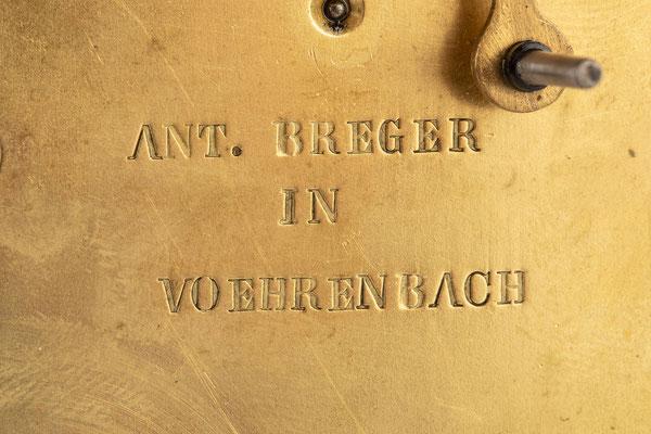 Rechenschlagwerk, Uhrmacher Anton Breger, Vöhrenbach im Schwarzwald um 1860, Signatur