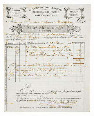 Morel & Fils, Horloger á Morbier 27.02.1867, Briefinhalt