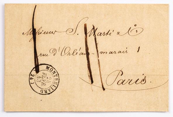 24. Februar 1843, Brief von S. Marti & Cie. (Montbéliard) an S. Marti & Cie. (Paris)
