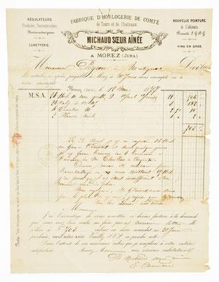 Michaud soeur ainée, Horloger á Morez, 12.05.1877, Briefinhalt