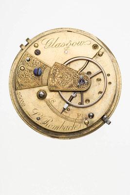 englisches Taschenuhrwerk mit Spitzzahnankergang, Signatur L. Rombach Glasgow