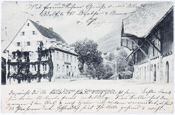 Hotel Sternen mit Oekonomiegebäude, Höllsteig im Höllental (Schwarzwald), Postkarte vom 31.07.1907