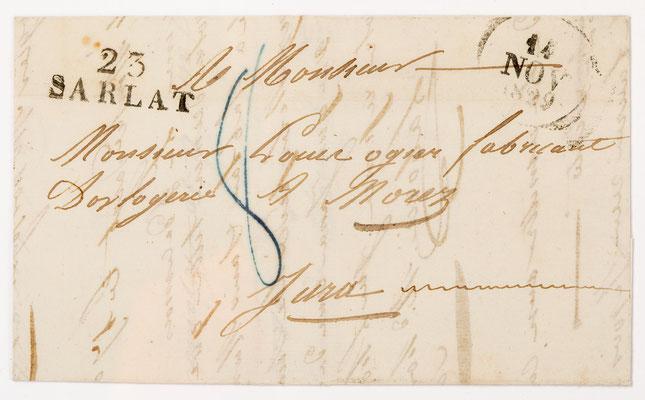 Horloger Louise Ogier, Morez 10.11.1829, Brief
