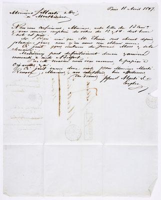 01. März 1847, Brief von S. Marti (Paris) an S. Marti & Cie. (Montbéliard), Inhalt