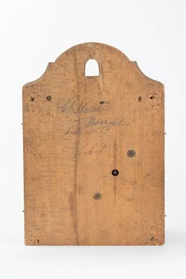 Rückwand, in Holz gespindeltes 8-Tage Uhrwerk von Fiedel Krieger in Lenzkirch