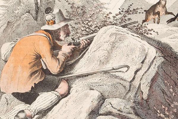 Detail, der Gemsenjäger aus der Lithographie
