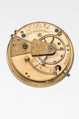 englisches Taschenuhrwerk, Signatur von L. Dold Peterboro