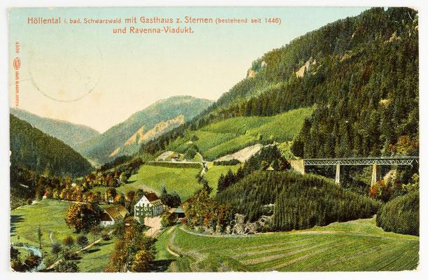 Höllental im badischen Schwarzwald mit Gasthaus zum Sternen, Postkarte vom 19.09.1911