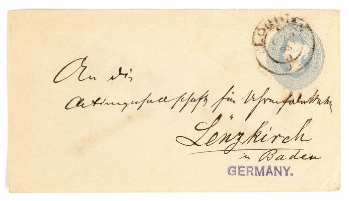 Briefhülle, an: Aktiengeselschaft für Uhrenfrabrikation Lenzkirch in Baden, Absender:  T. Ascher London 8.04.1895