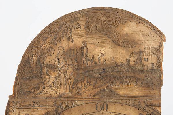 Bogen des Uhrenschildes, Schwarzwälder Schilderuhr um 1800
