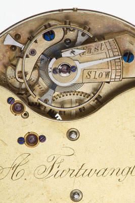 Detail, Taschenuhrwerk mit freiem Spitzzahnankergang, A. Furtwangler in London