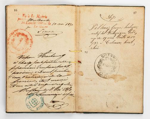 Wanderbuch des Uhrmachergesellen Georg Bilharz von 1849 bis 1851, Kenzingen im Großherzogtum Baden, Seite 16-17