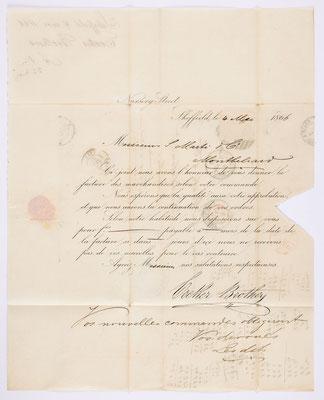04. Mai 1866, Brief von Cocker Brothers (Sheffielde) an S. Marti & Cie. (Montbéliard), Inhalt